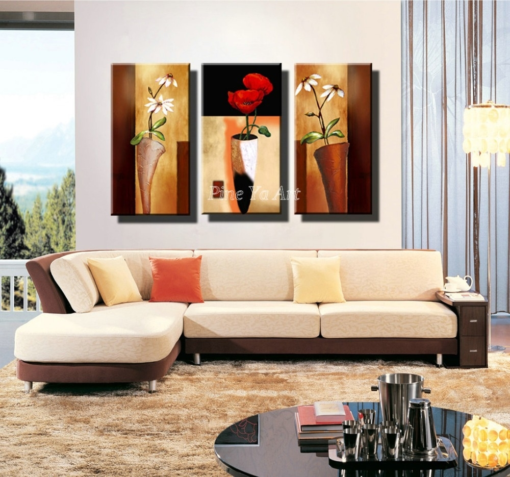 3 Panel Hd Print Cheap Decorative Flower Abstract Modern intended for Contemporary Wall Decor For Living Room