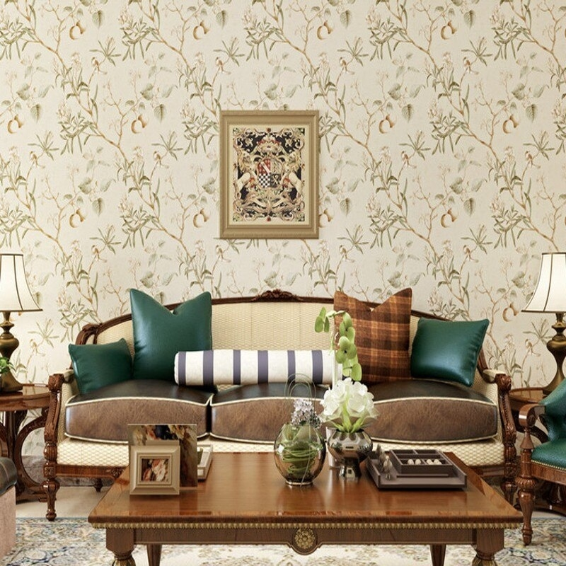 American Style Wallpaper Retro Old Apple Tree Bird inside Bedroom Living Room