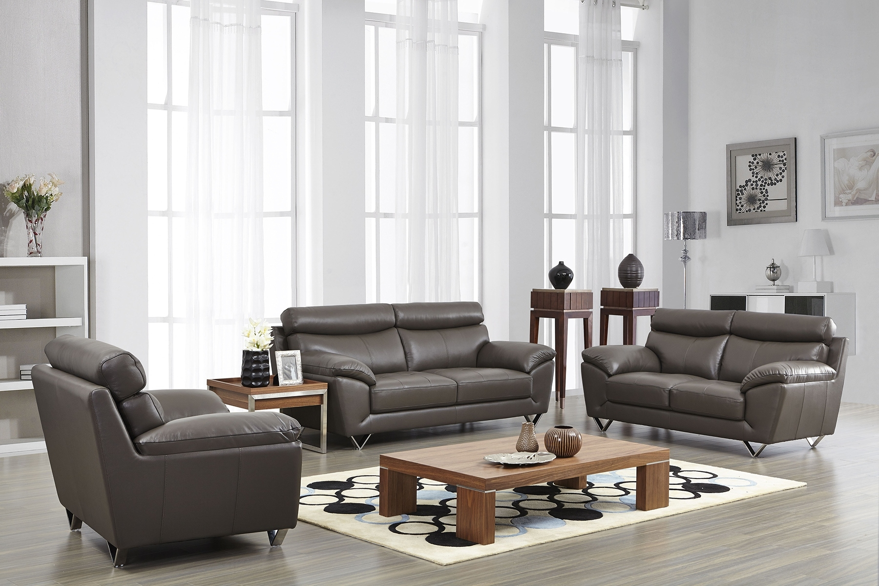 Contemporary Stylish Leather 3Pc Sofa Set With Chrome Legs intended for Leather Sofas For Living Room