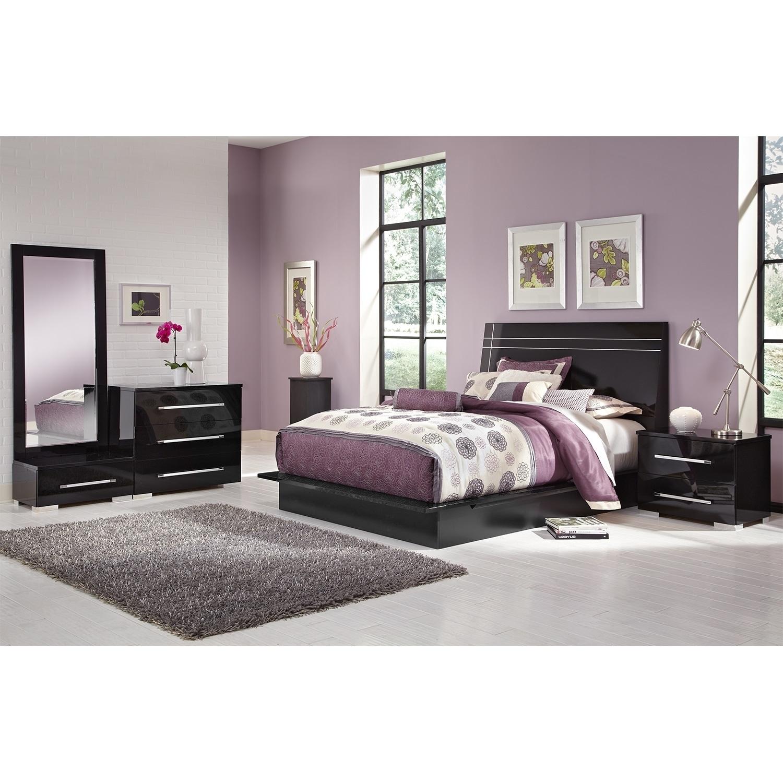Dimora 6-Piece King Panel Bedroom Set - Black | Value City inside City Furniture Bedroom Sets