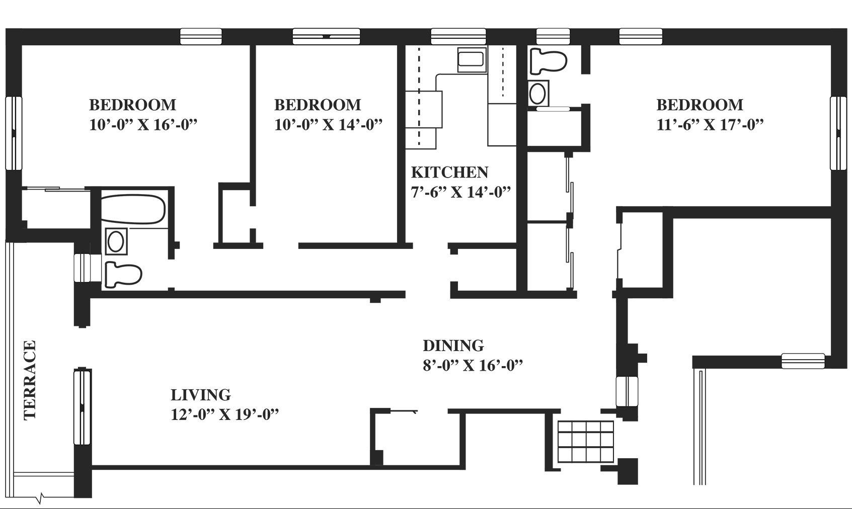 Floor Plans - 3 Bedrooms - Greenwich Close Apartments intended for 3 Bedroom Flat Floor Plan