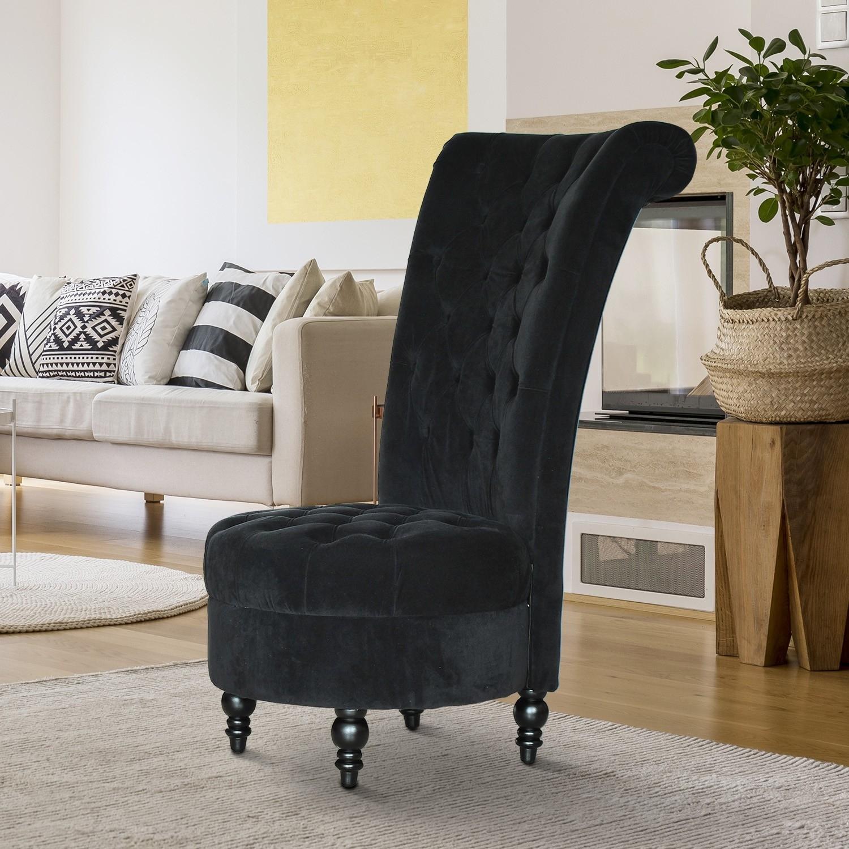 """Homcom 45"""" Tufted High Back Velvet Accent Chair Living for High Back Sofas Living Room Furniture"""