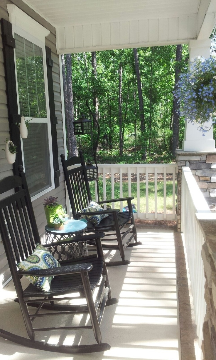 My Southern Front Porch Design. The Black Rocking Chairs with Porch Seating Ideas
