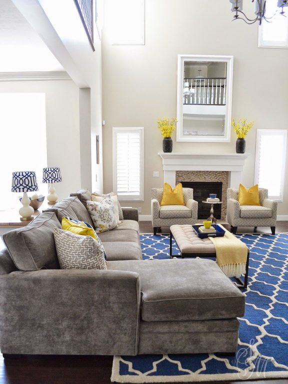 Gray White And Yellow Living Rooms