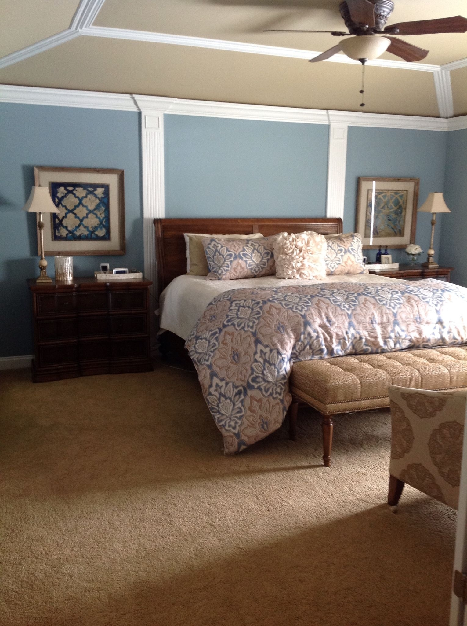 Walls: Sherwin-Williams Meditative. Ceiling: Sherwin intended for Master Bedroom Wall Moulding