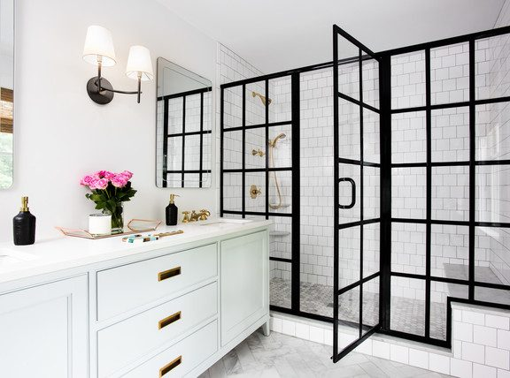 Black Frame Shower Partition